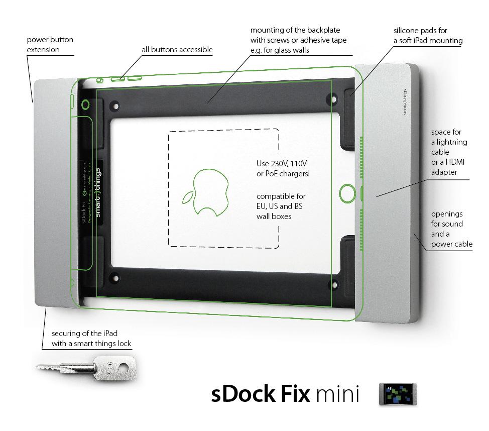 sDock mini Fix s09— фиксированное настенное крепление для Apple iPad mini 4